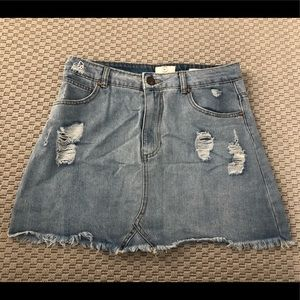 Cotton on distressed denim skirt